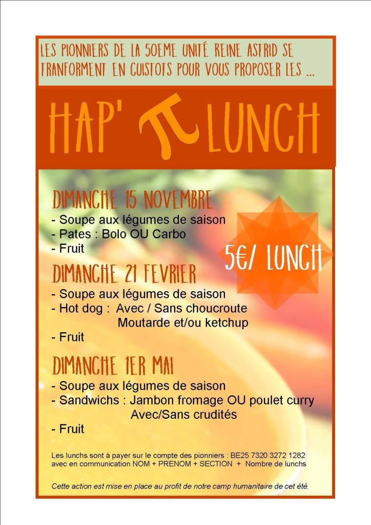 Le menu des Hap'π Lunch 2015-2016